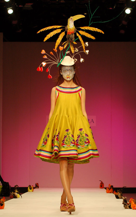 Model in a Manish Arora design (Spring 2007 collection) at London Fashion Week